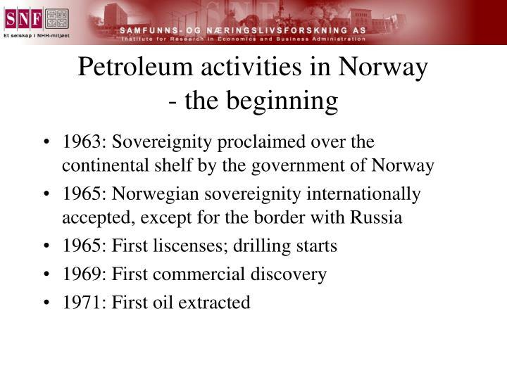 Petroleum activities in norway the beginning