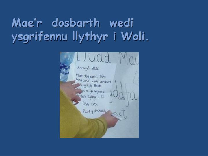 mae r dosbarth wedi ysgrifennu llythyr i woli n.