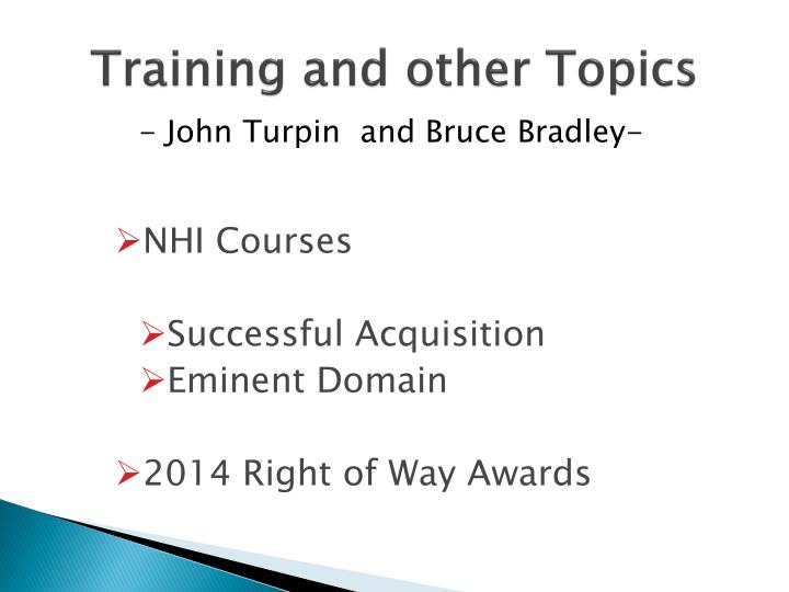 training and other topics n.