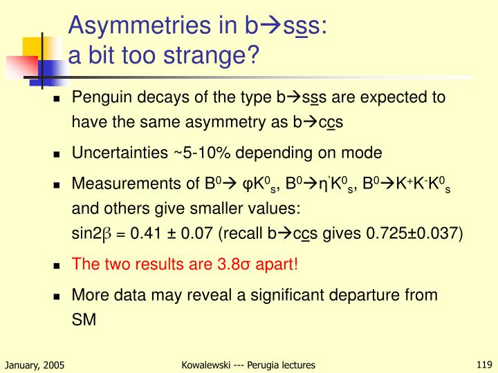 Asymmetries in b
