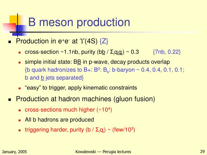 B meson production