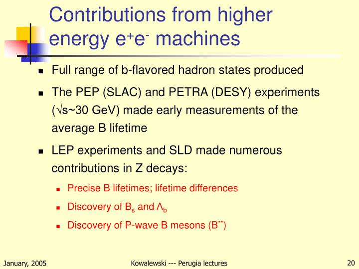 Contributions from higher energy e