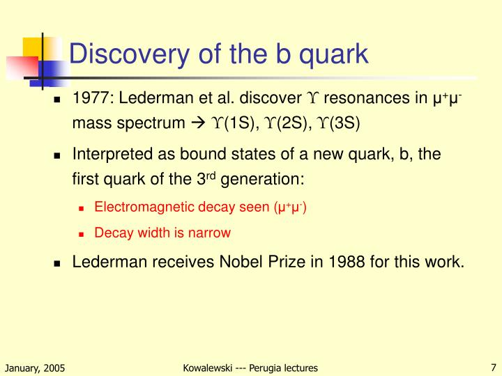 Discovery of the b quark