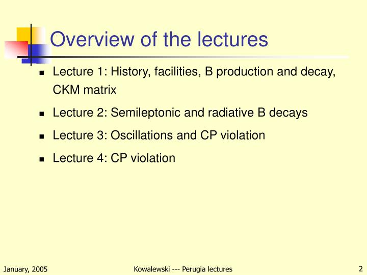 Overview of the lectures