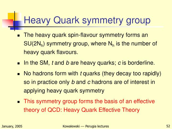 Heavy Quark symmetry group