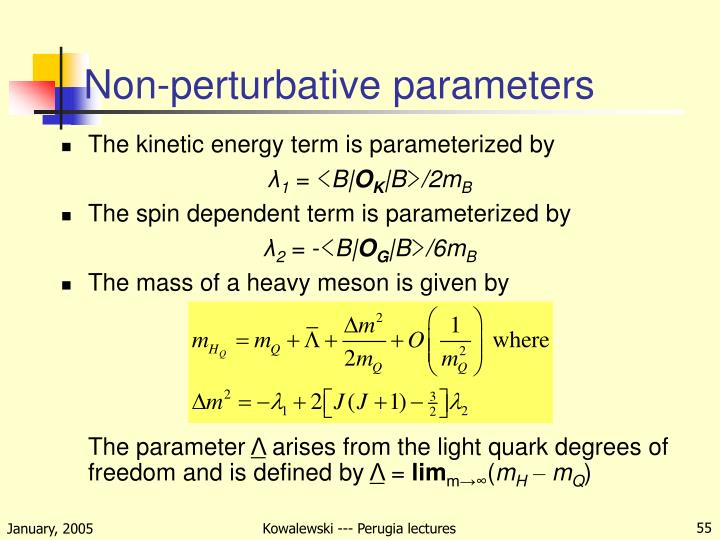 Non-perturbative parameters