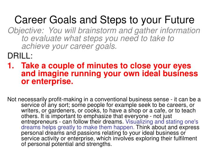 Career goals and steps to your future