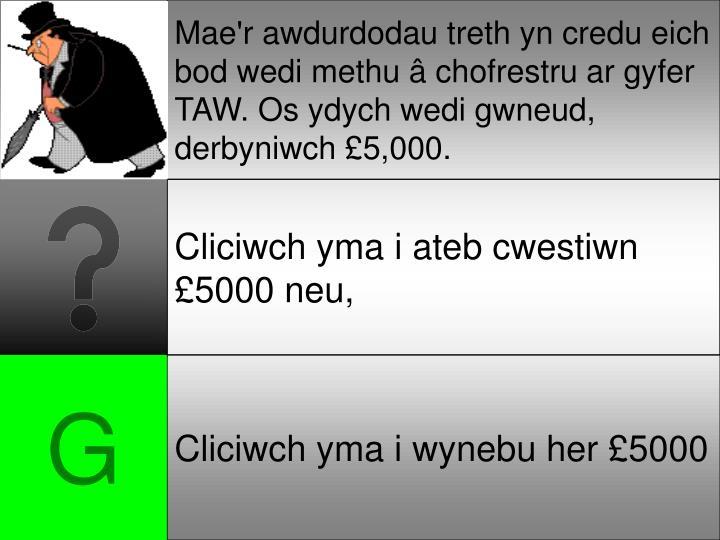 Mae'r awdurdodau treth yn credu eich bod wedi methu â chofrestru ar gyfer TAW. Os ydych wedi gwneud, derbyniwch £5,000.