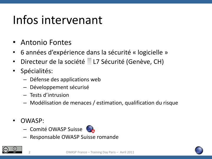 Infos intervenant