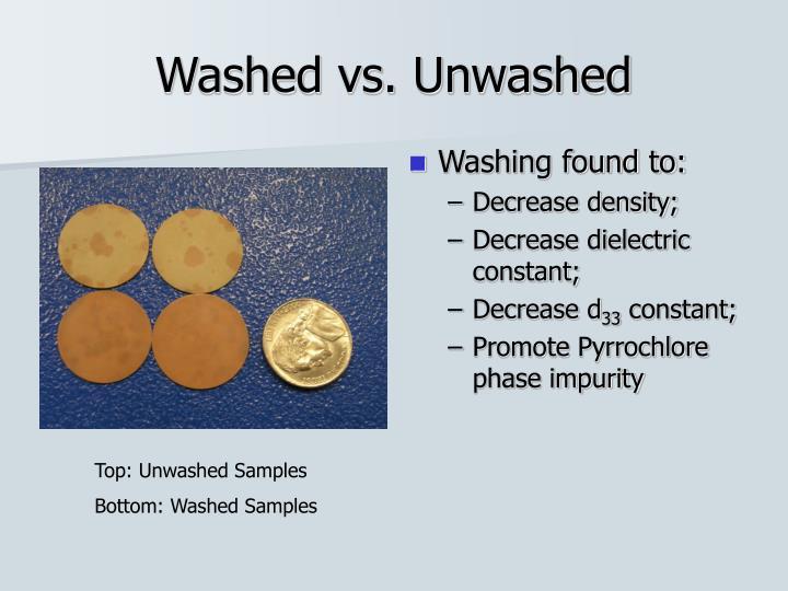 Washed vs. Unwashed