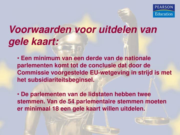 Voorwaarden voor uitdelen van gele kaart: