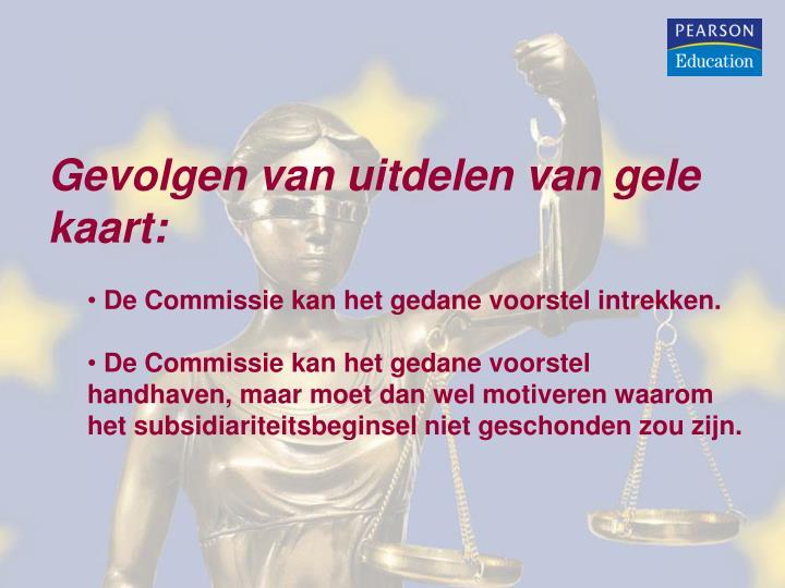 Gevolgen van uitdelen van gele kaart: