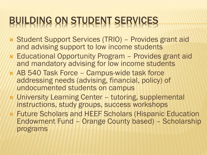 Student Support Services (TRIO) – Provides grant aid and advising support to low income students