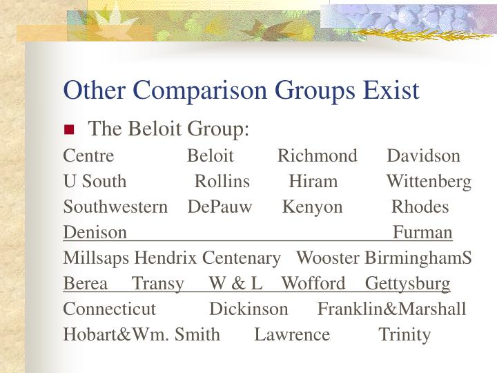 Other Comparison Groups Exist