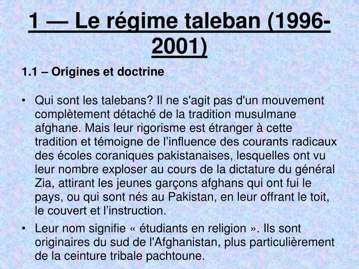 1 le r gime taleban 1996 2001