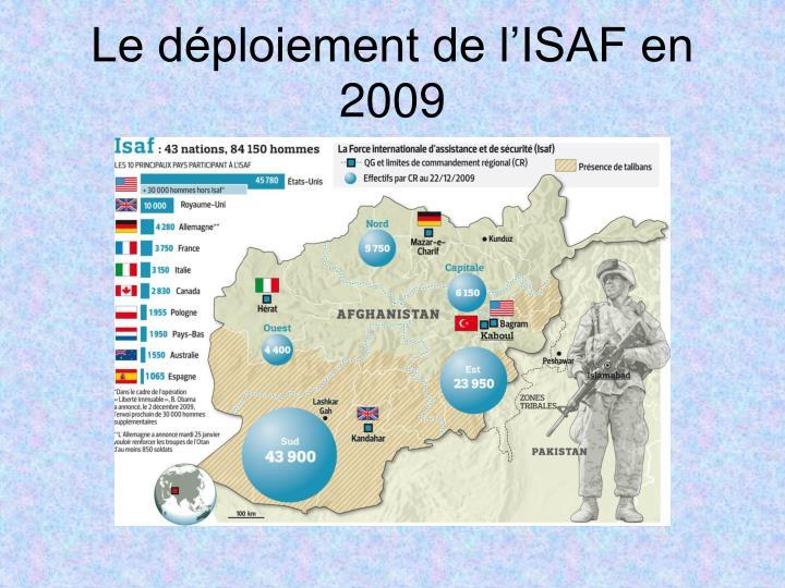 Le déploiement de l'ISAF en 2009