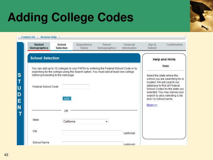 Adding College Codes
