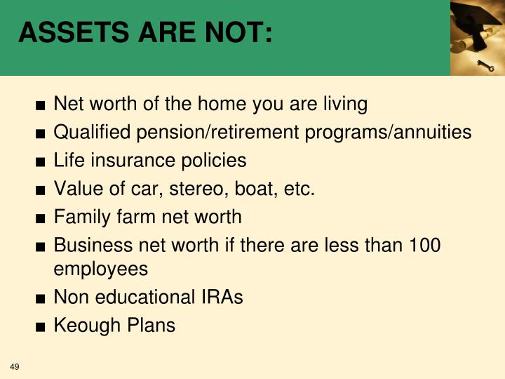 ASSETS ARE NOT: