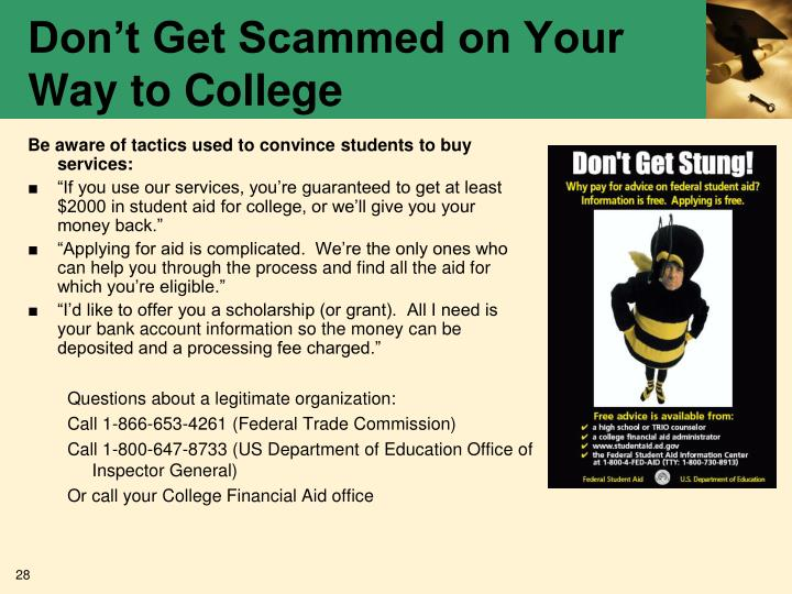 Don't Get Scammed on Your Way to College