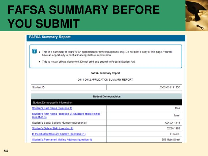 FAFSA SUMMARY BEFORE YOU SUBMIT