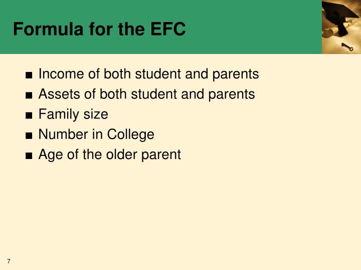 Formula for the EFC