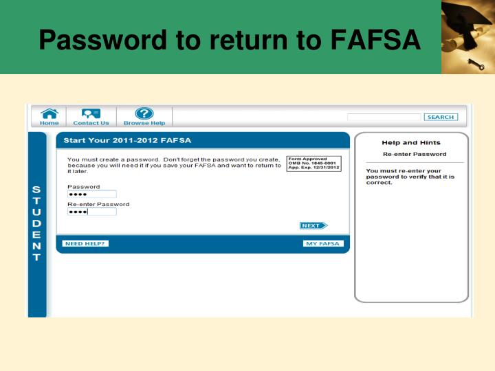 Password to return to FAFSA