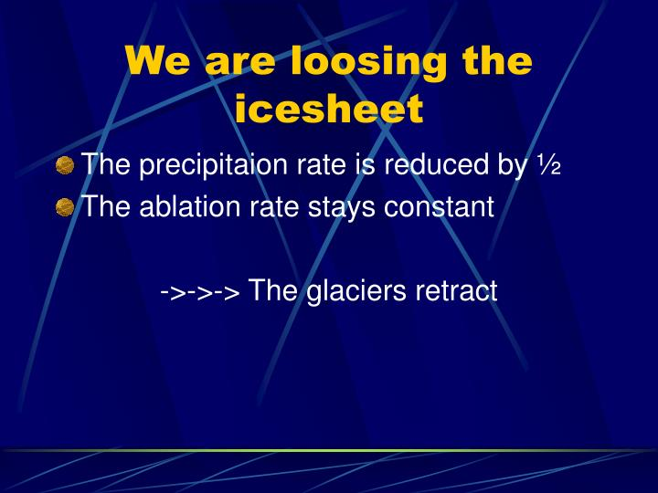 We are loosing the icesheet