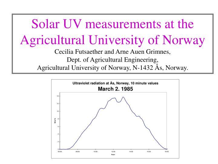 Solar UV measurements at the