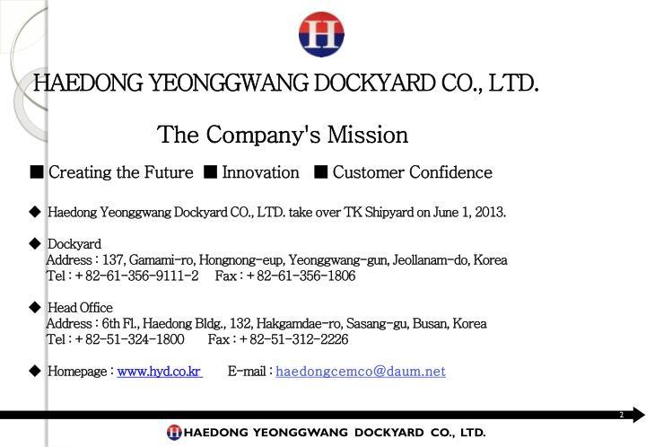 HAEDONG YEONGGWANG DOCKYARD CO., LTD.
