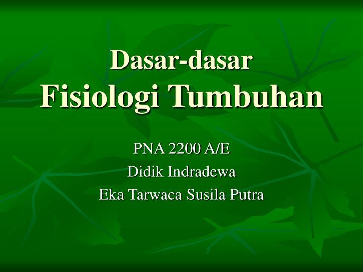 dasar dasar fisiologi tumbuhan n.