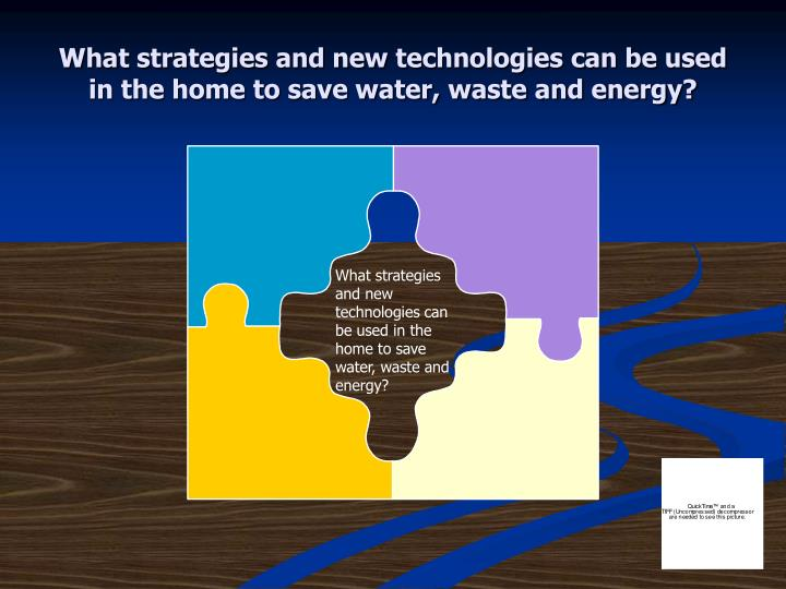 What strategies and new technologies can be used in the home to save water, waste and energy?