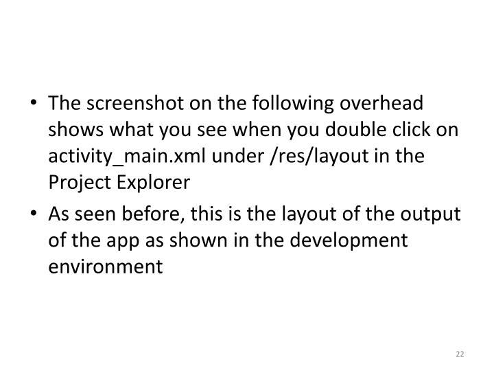 The screenshot on the following overhead shows what you see when you double click on