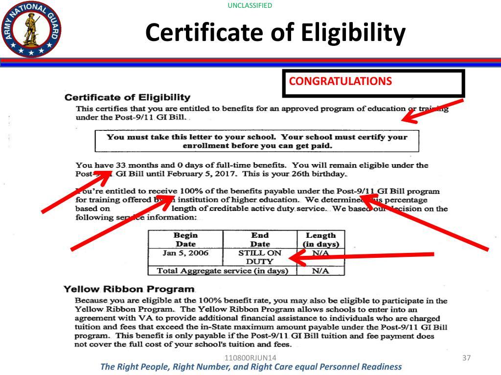 gi bill certificate eligibility congratulations ppt powerpoint presentation