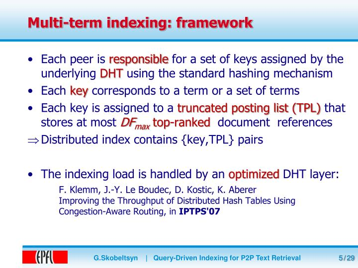 Multi-term indexing: framework