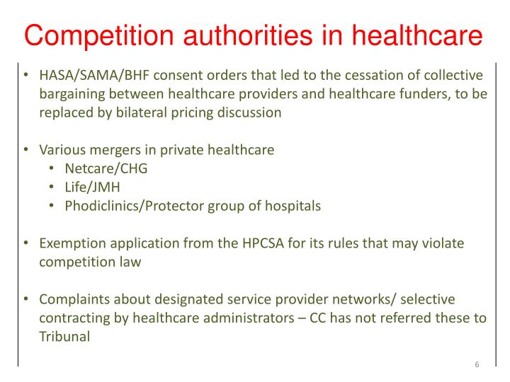 Competition authorities in healthcare