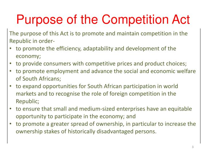 Purpose of the competition act