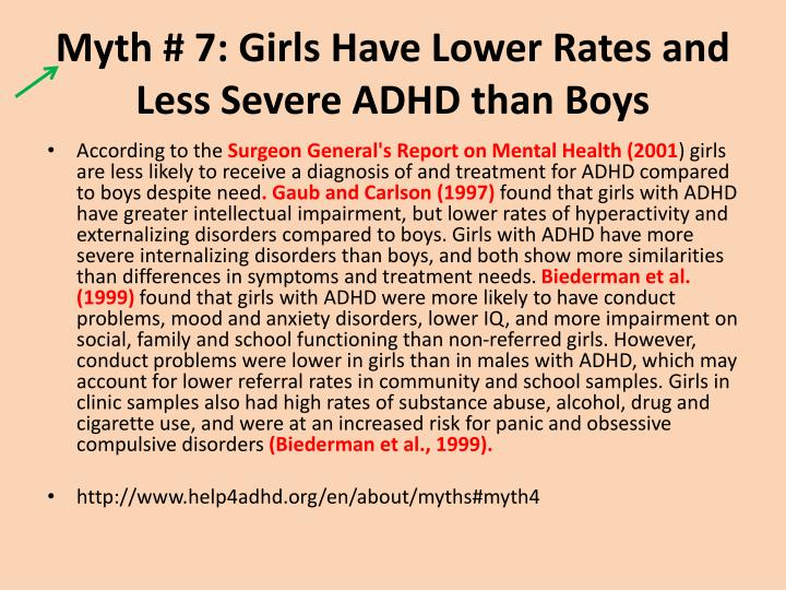 Myth 7 girls have lower rates and less severe adhd than boys