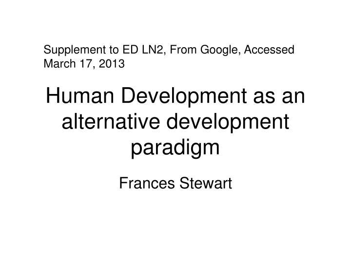 human development as an alternative development paradigm n.