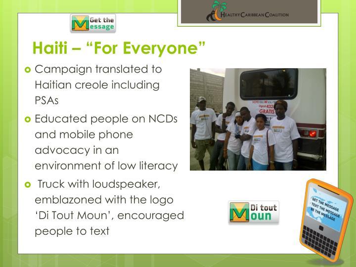 "Haiti – ""For Everyone"""