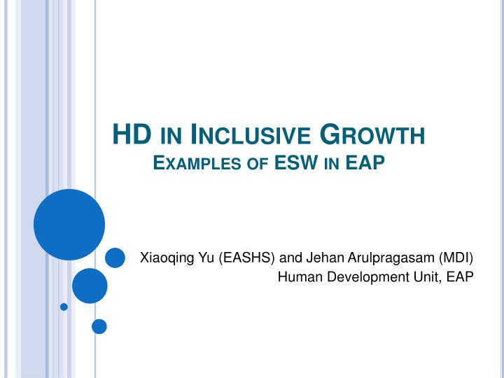 hd in inclusive growth examples of esw in eap n.