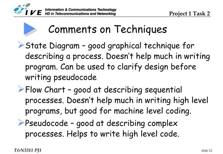 Comments on Techniques