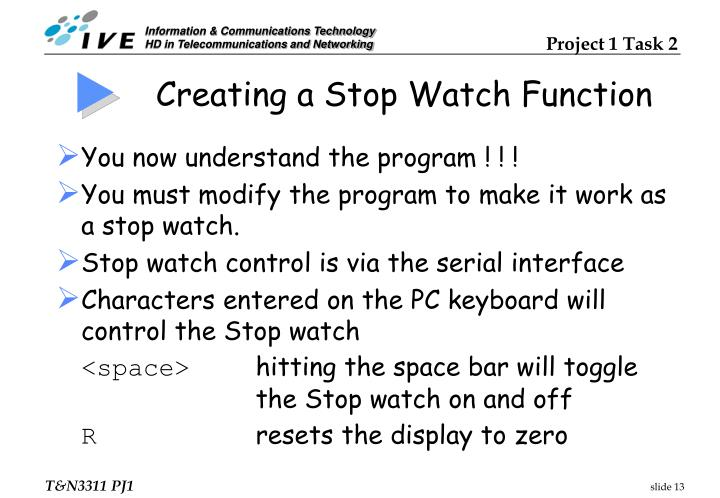 Creating a Stop Watch Function