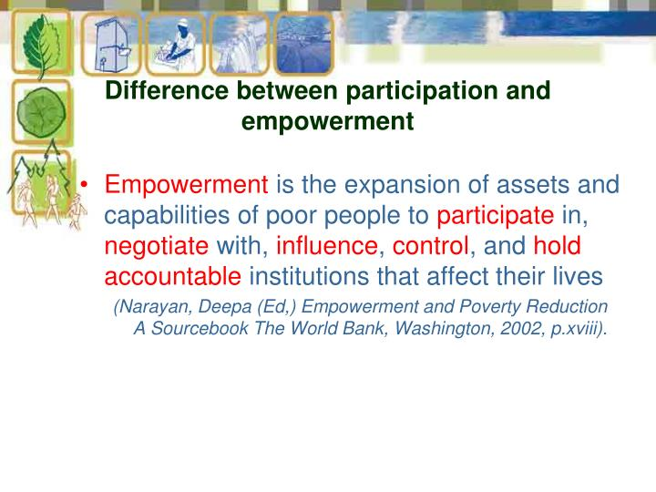 Difference between participation and empowerment
