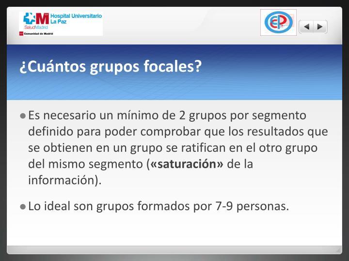 ¿Cuántos grupos focales?