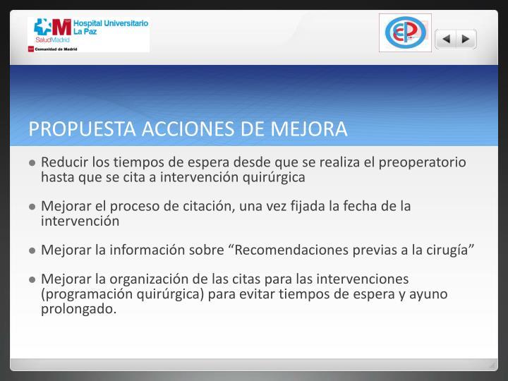 PROPUESTA ACCIONES DE MEJORA