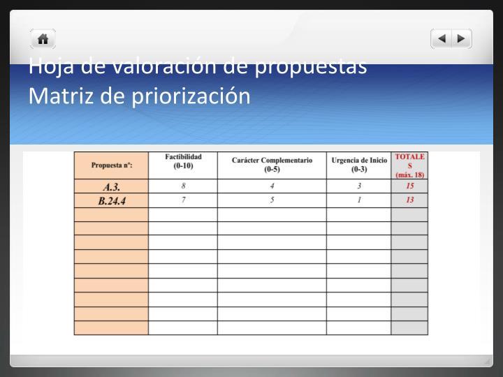 HOJA DE VALORACIÓN DE PROPUESTAS (EJEMPLO)