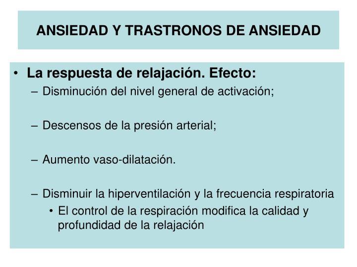 ANSIEDAD Y TRASTRONOS DE ANSIEDAD
