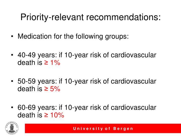 Priority-relevant recommendations: