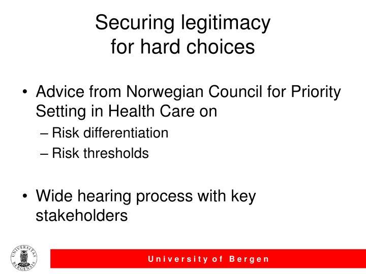 Securing legitimacy