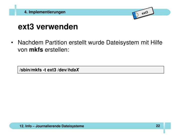 ext3 verwenden